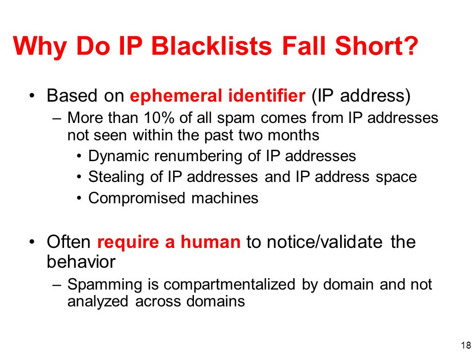 Why Do IP Blacklists Fall Short