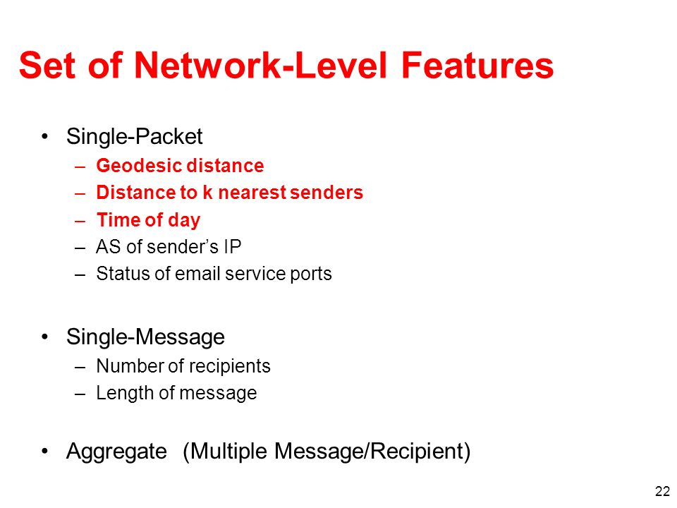 Set of Network-Level Features