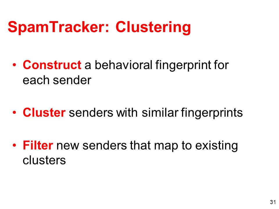SpamTracker: Clustering