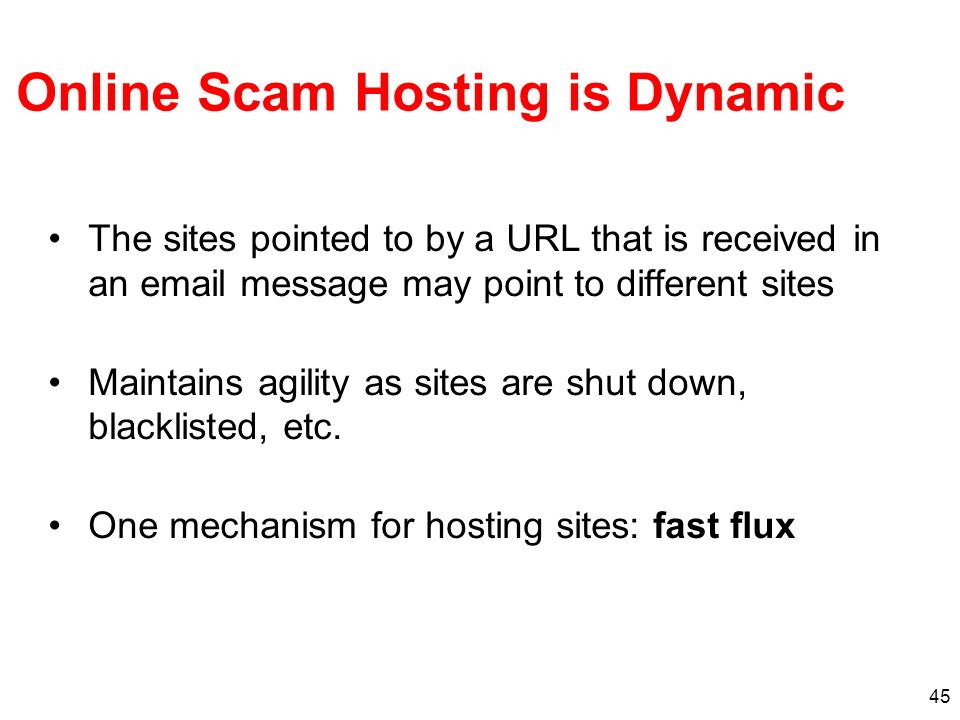 Online Scam Hosting is Dynamic