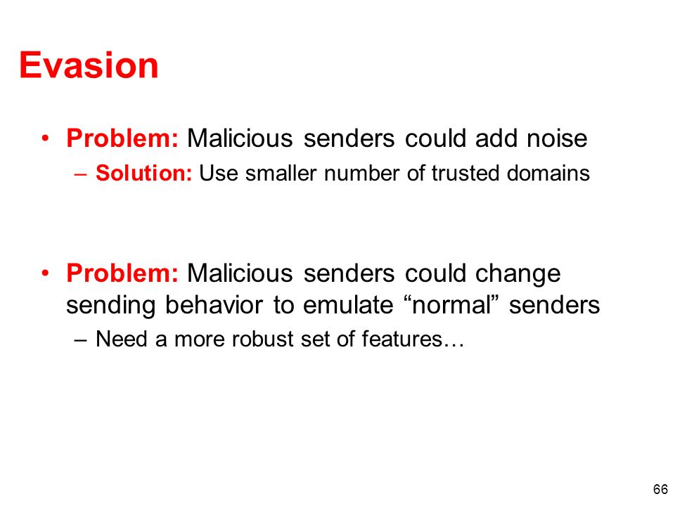 Evasion Problem: Malicious senders could add noise