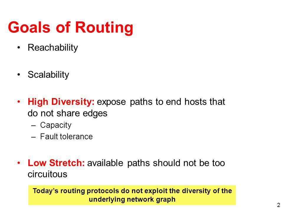 Goals of Routing Reachability Scalability