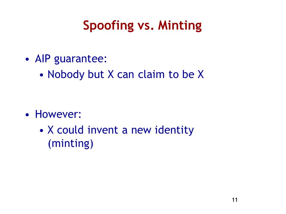 Spoofing vs. Minting AIP guarantee: Nobody but X can claim to be X