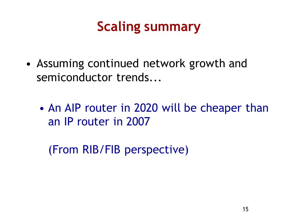 Scaling summary Assuming continued network growth and semiconductor trends...