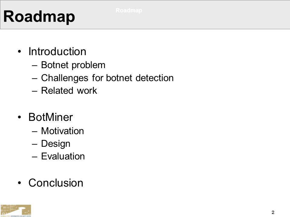 Roadmap Introduction BotMiner Conclusion Botnet problem