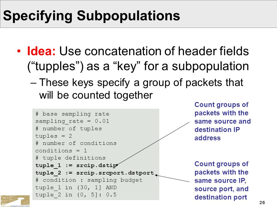 Specifying Subpopulations