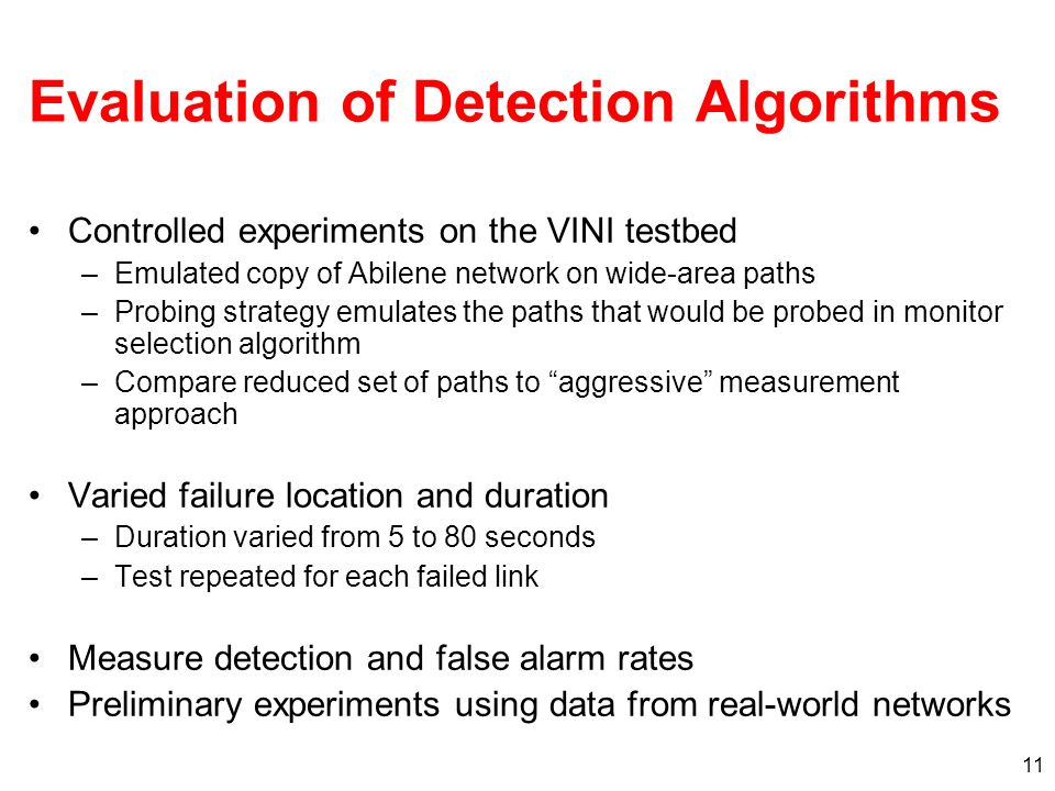 Evaluation of Detection Algorithms