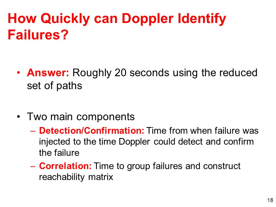 How Quickly can Doppler Identify Failures