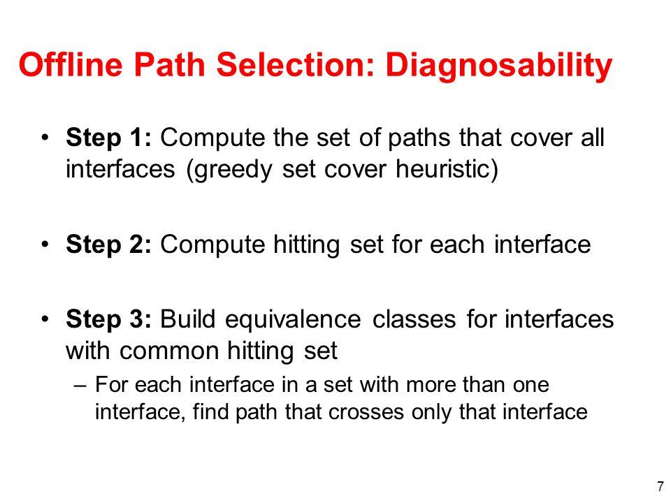 Offline Path Selection: Diagnosability
