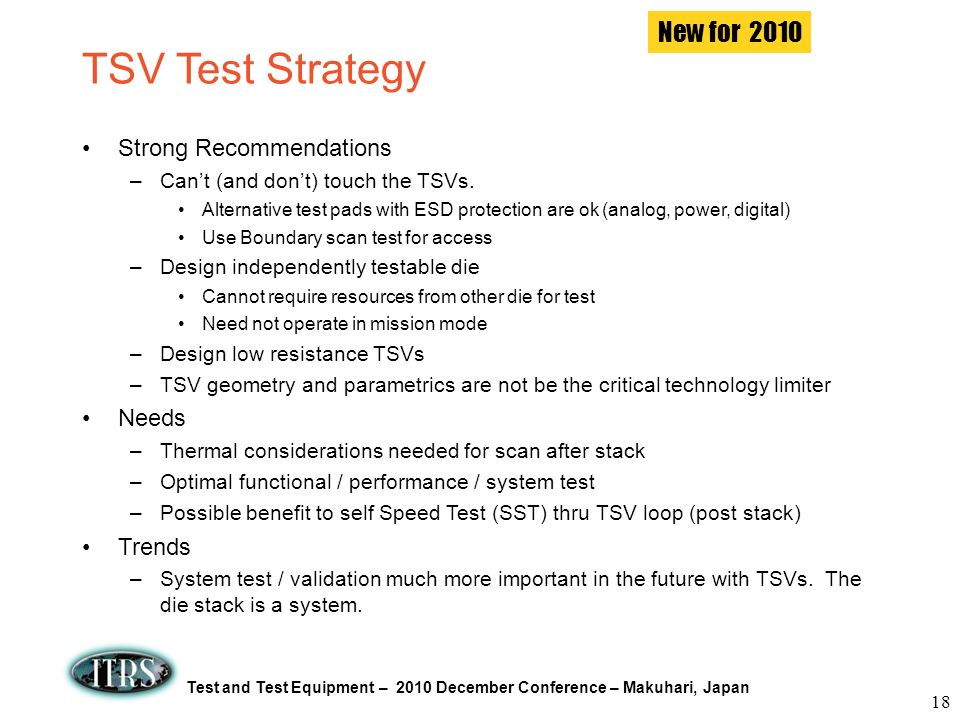 TSV Test Strategy New for 2010 Strong Recommendations Needs Trends