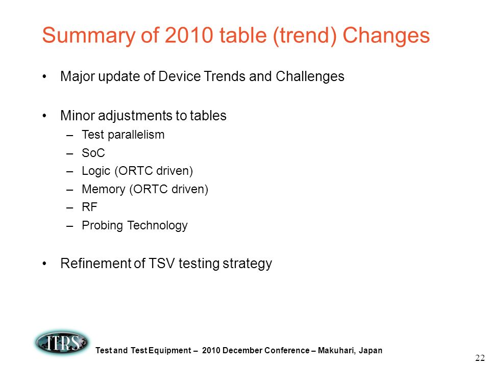 Summary of 2010 table (trend) Changes