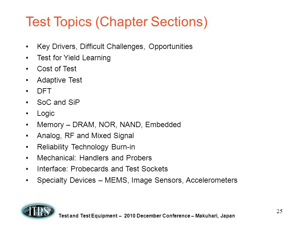 Test Topics (Chapter Sections)