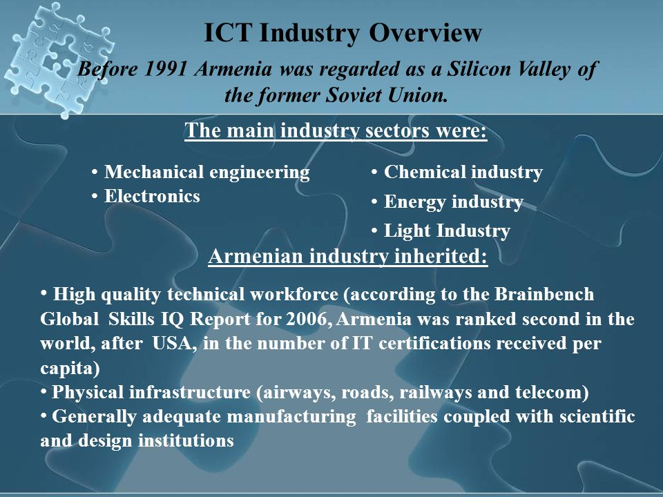 The main industry sectors were: Armenian industry inherited:
