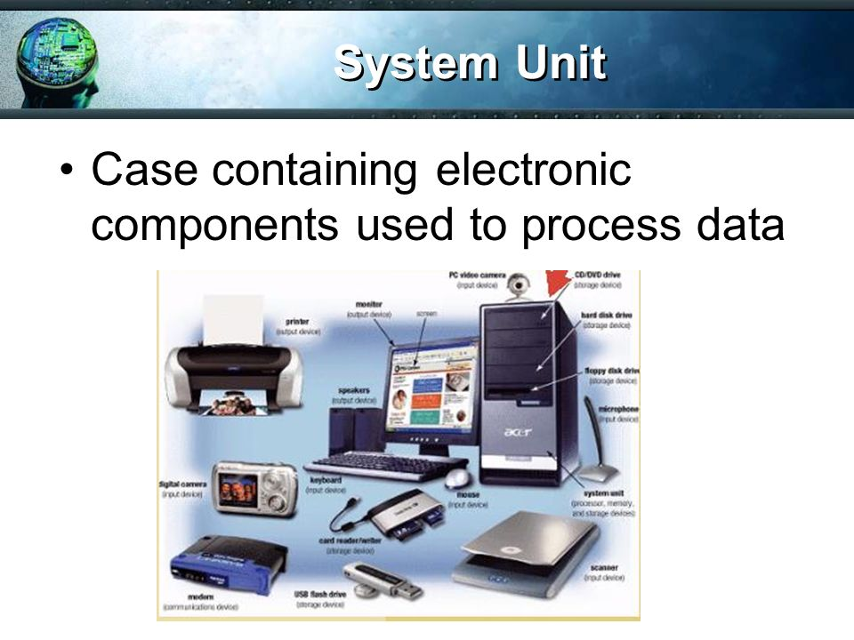 System Unit Case containing electronic components used to process data