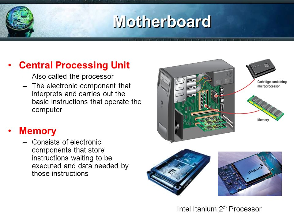 Motherboard Central Processing Unit Memory Also called the processor