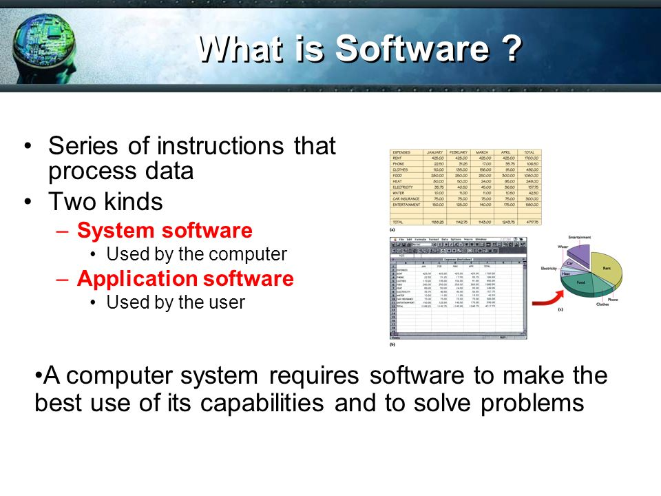 What is Software Series of instructions that process data Two kinds