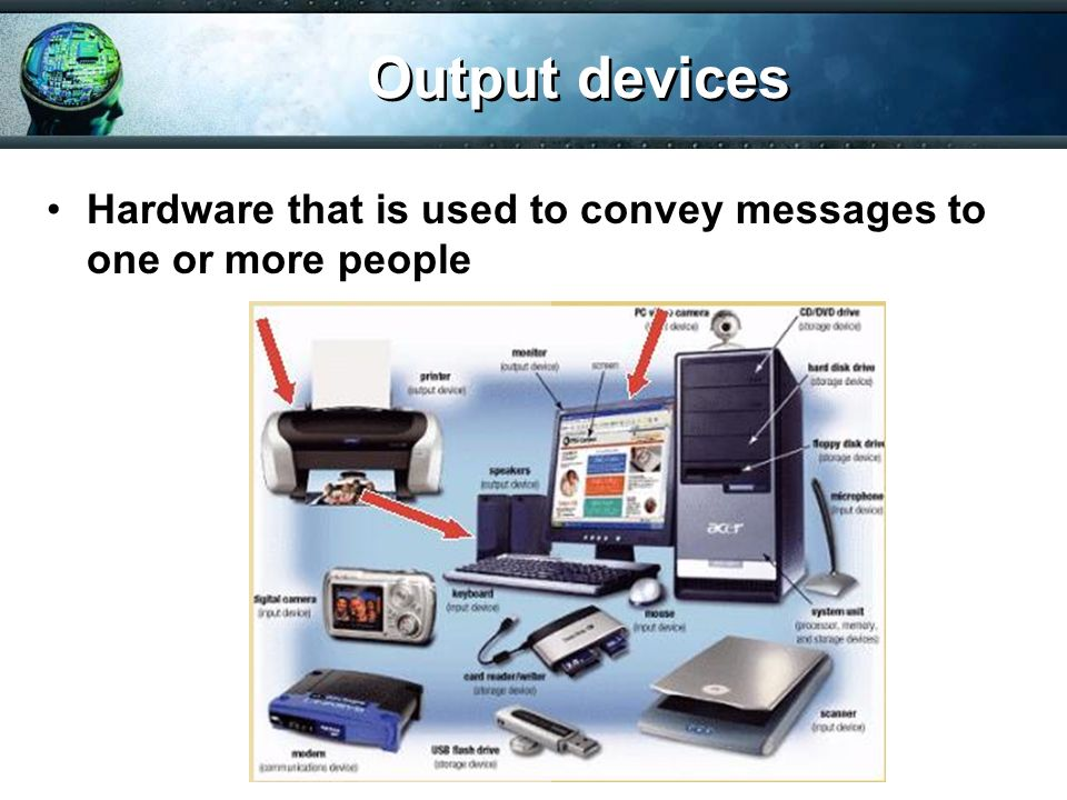 Output devices Hardware that is used to convey messages to one or more people