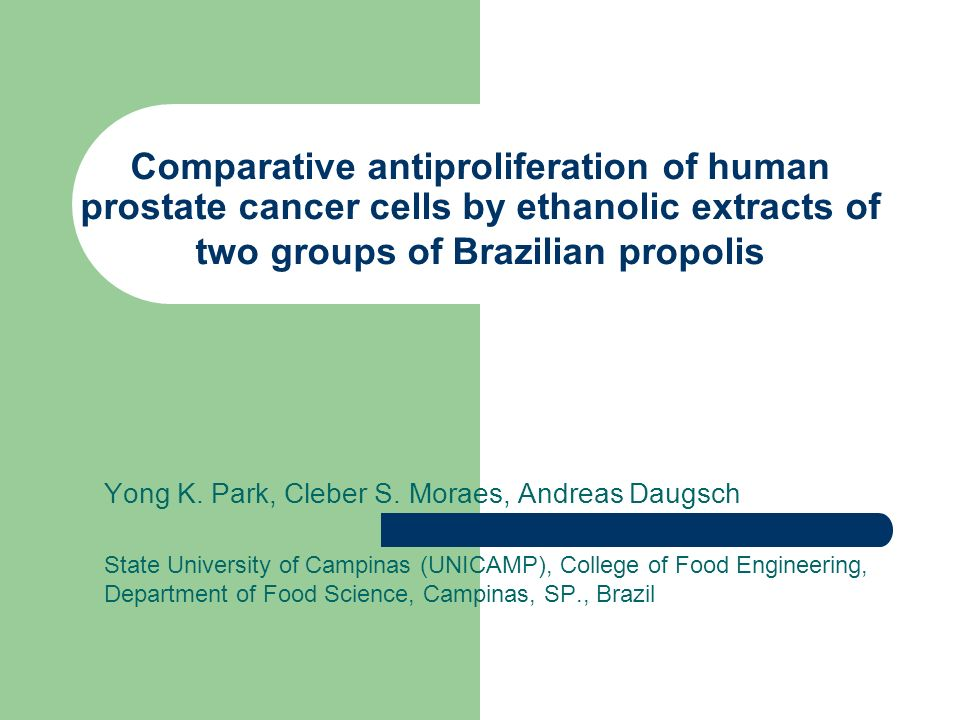 Comparative antiproliferation of human prostate cancer cells by ethanolic extracts of two groups of Brazilian propolis