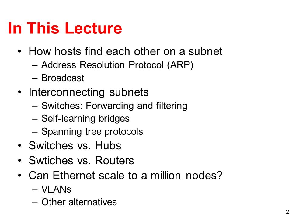 In This Lecture How hosts find each other on a subnet
