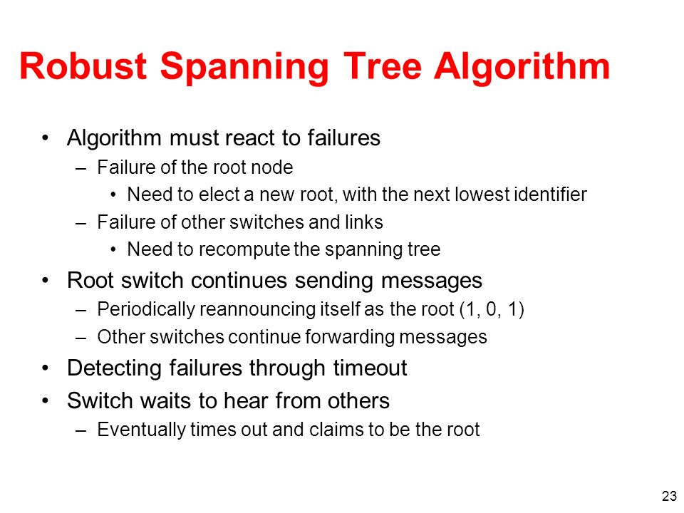 Robust Spanning Tree Algorithm