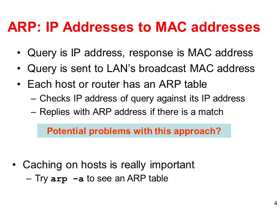 ARP: IP Addresses to MAC addresses