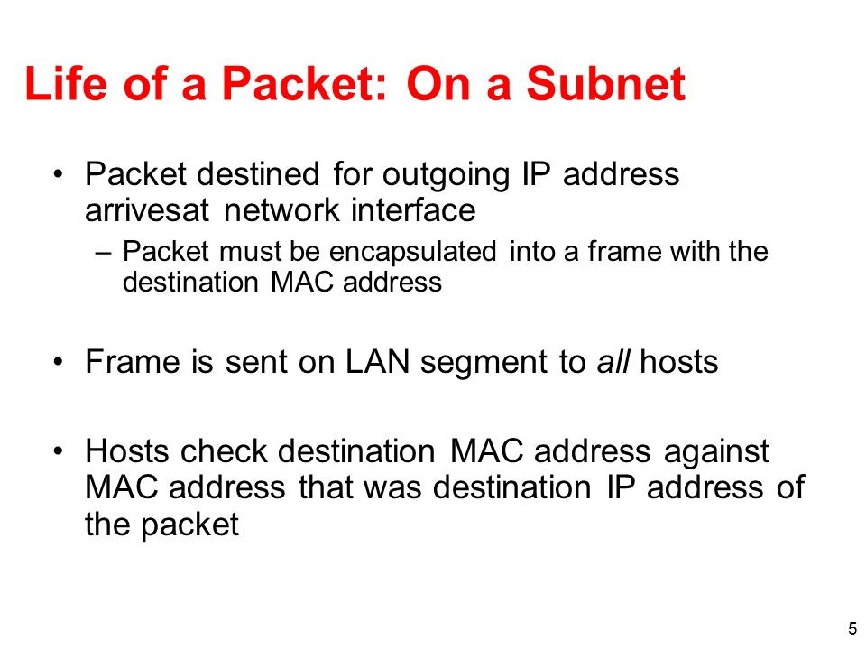 Life of a Packet: On a Subnet