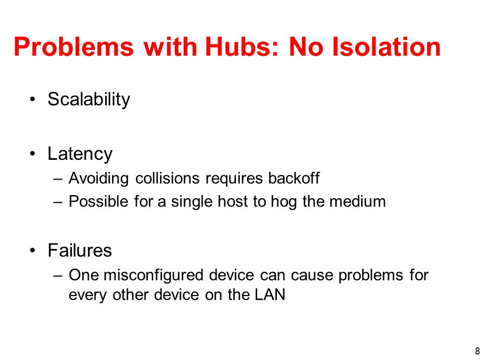 Problems with Hubs: No Isolation