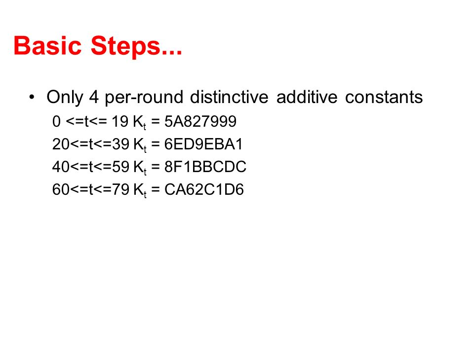 Basic Steps... Only 4 per-round distinctive additive constants