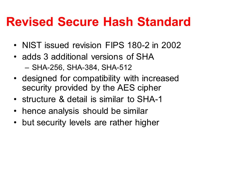 Revised Secure Hash Standard