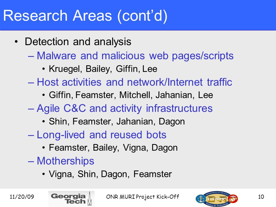 Research Areas (cont'd)