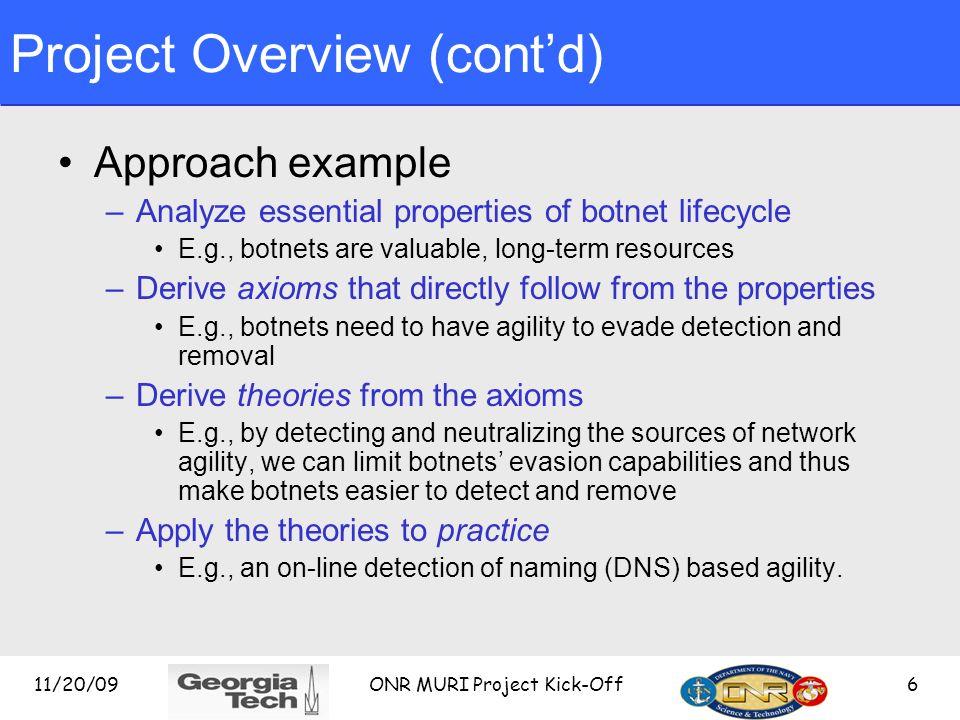Project Overview (cont'd)