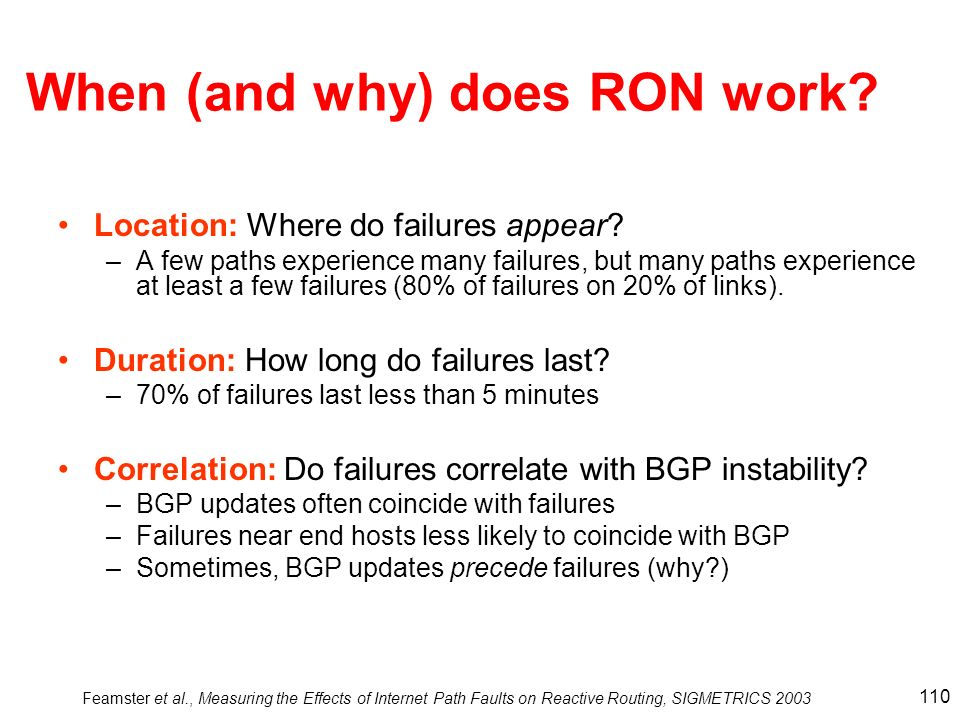 When (and why) does RON work