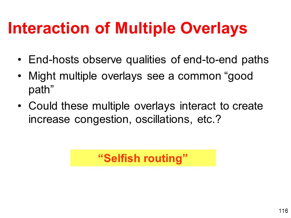Interaction of Multiple Overlays
