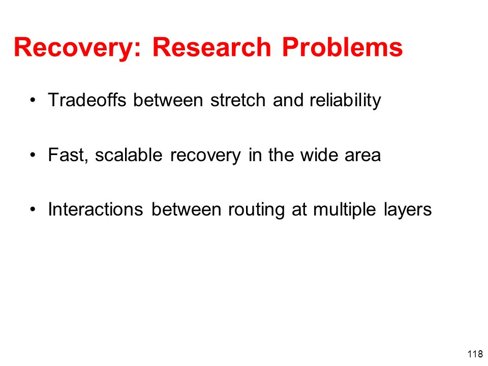 Recovery: Research Problems