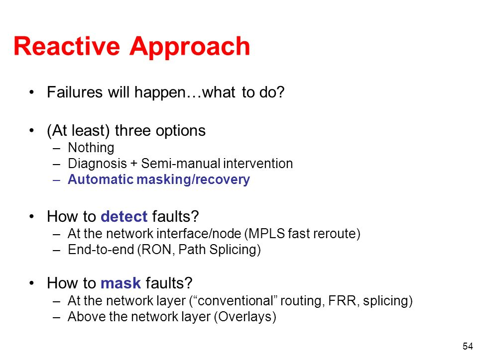 Reactive Approach Failures will happen…what to do