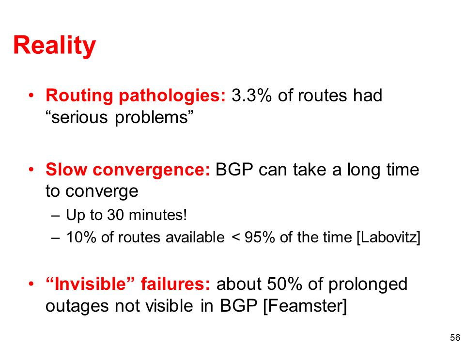 Reality Routing pathologies: 3.3% of routes had serious problems