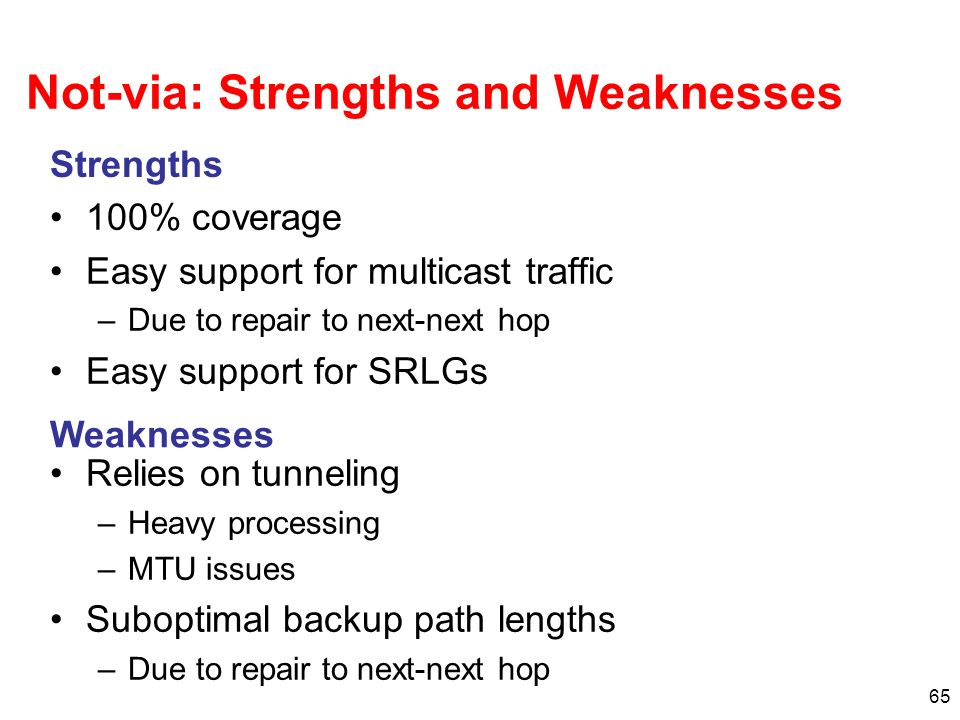 Not-via: Strengths and Weaknesses