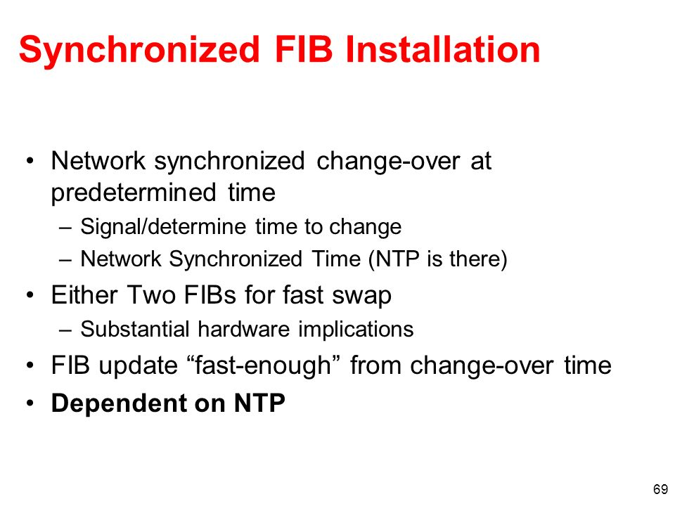 Synchronized FIB Installation
