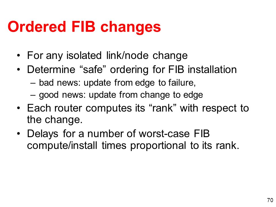 Ordered FIB changes For any isolated link/node change
