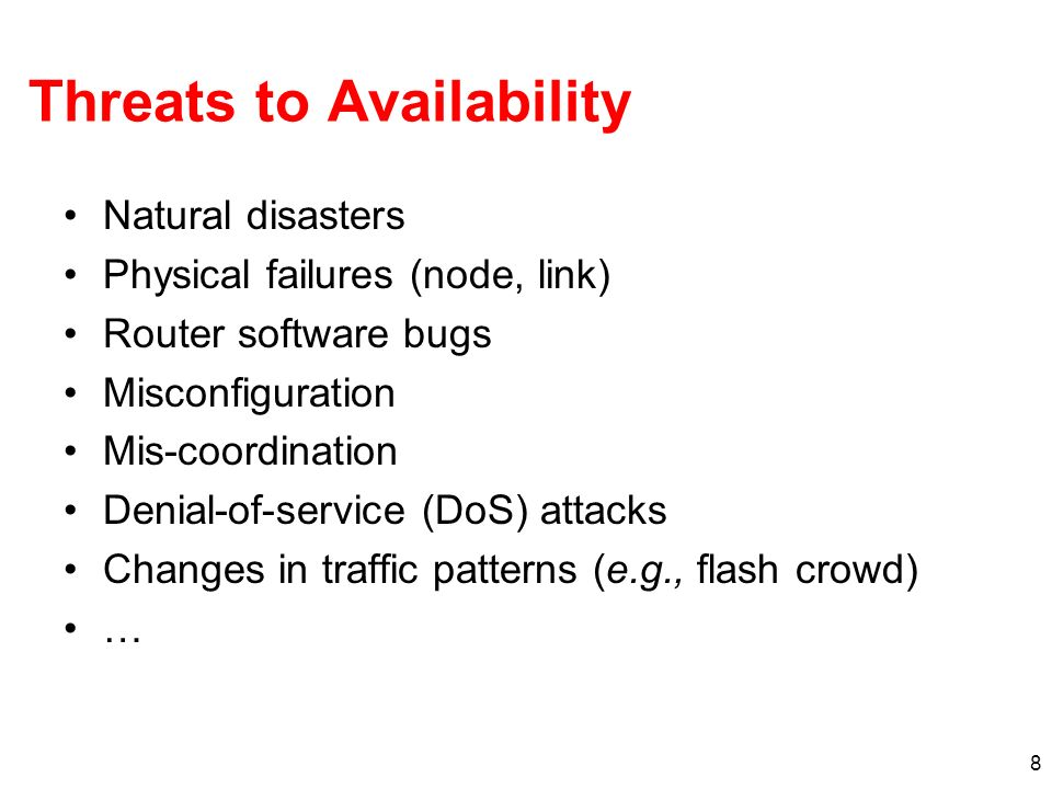 Threats to Availability