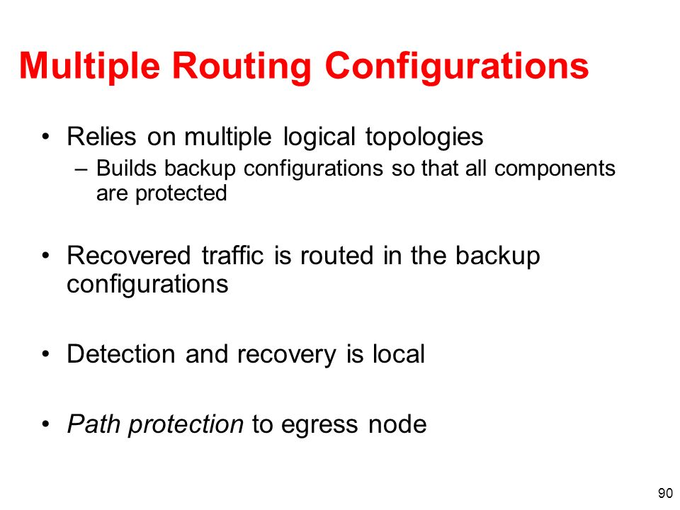 Multiple Routing Configurations