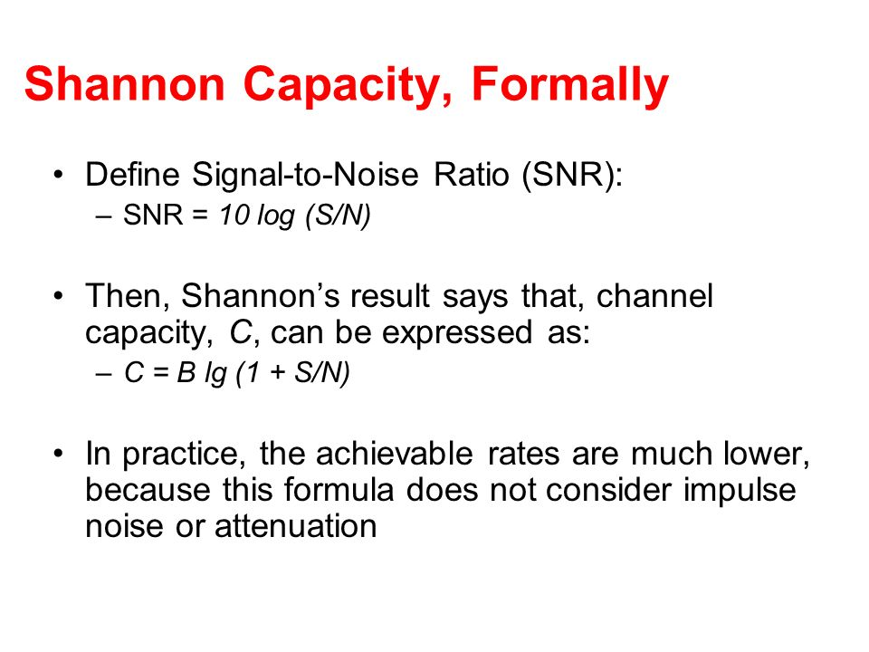 Shannon Capacity, Formally