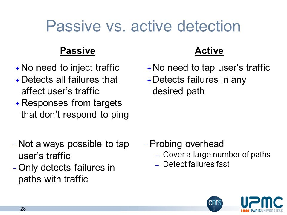Passive vs. active detection