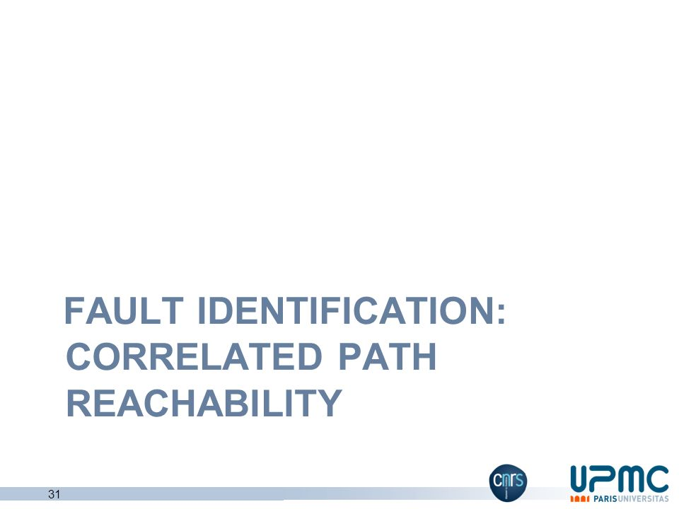 Fault identification: correlated path reachability