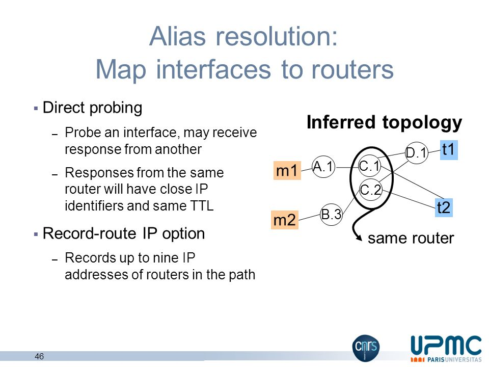 Alias resolution: Map interfaces to routers