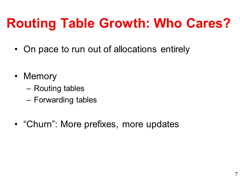 Routing Table Growth: Who Cares