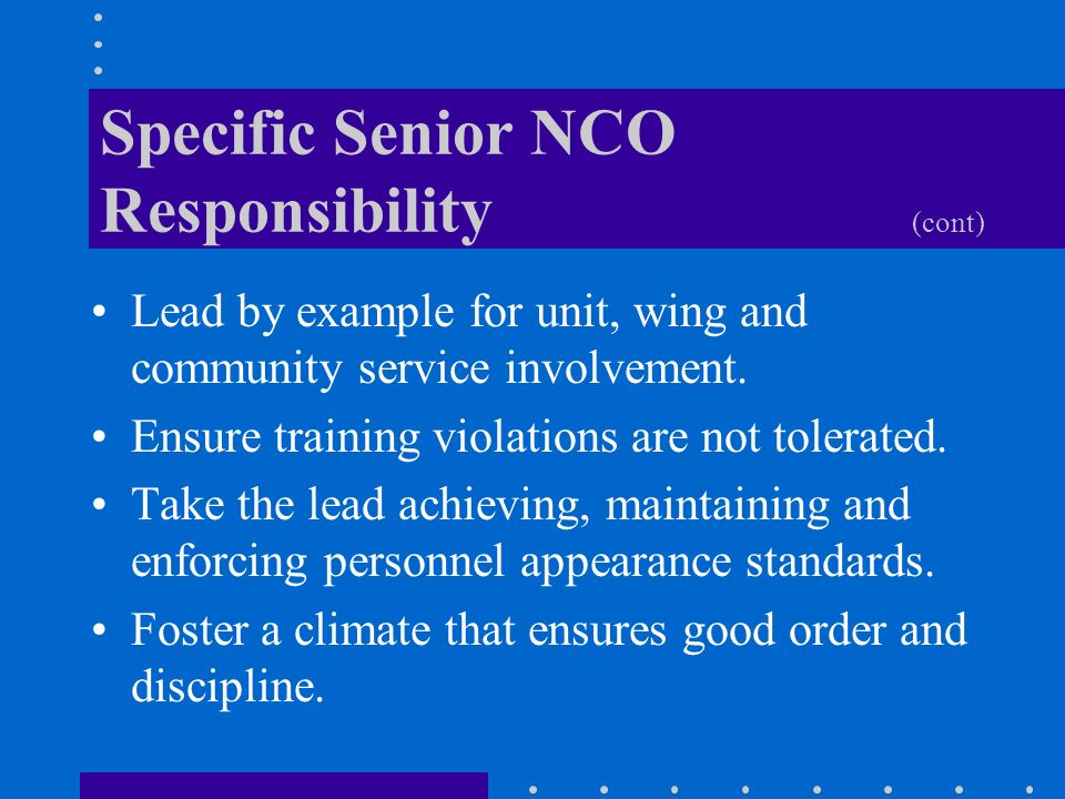 the responsibilities of an nco accountability Duties, responsibilities and authority of the nco do the right thing – always assuming a leadership position duties, responsibilities and authority.