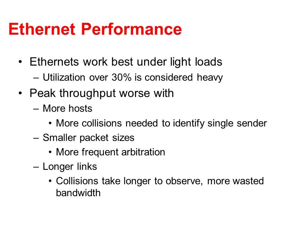 Ethernet Performance Ethernets work best under light loads