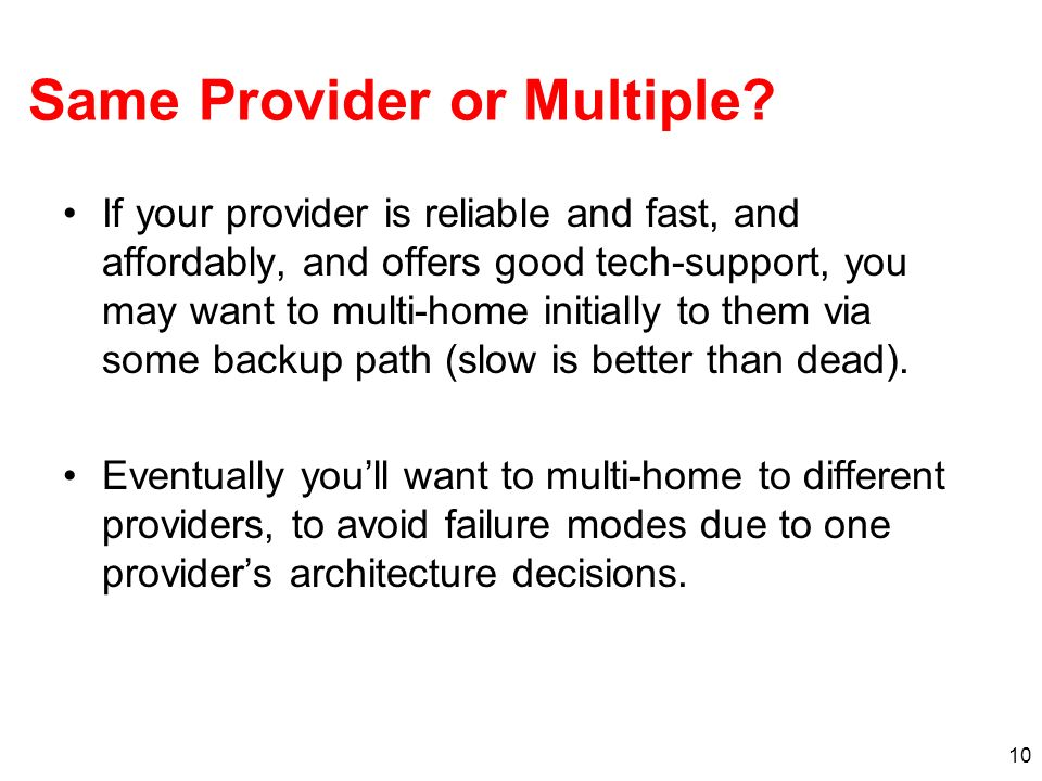 Same Provider or Multiple