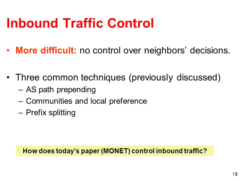 Inbound Traffic Control